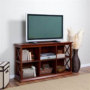 Table Tv But : small modern flat screen tv console table with bookshelf and rattan basket storage for saving ~ Teatrodelosmanantiales.com Idées de Décoration