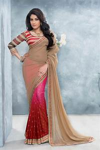 Beige  Pink  U0026 Maroon Chiffon Party Wear Saree