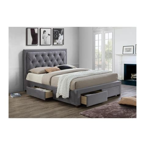 King Size Bed by King Size Bed In Grey Fabric With 2 Storage Draws