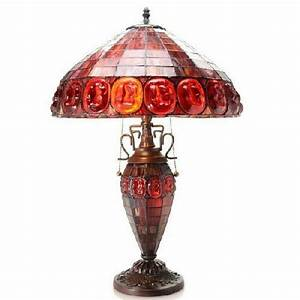 Vintage Light Bulbs Home Depot Stained Glass Lamp Red Shade 24 Quot High Handmade Victorian