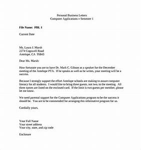 10 sample personal business letters sample templates With business letter template