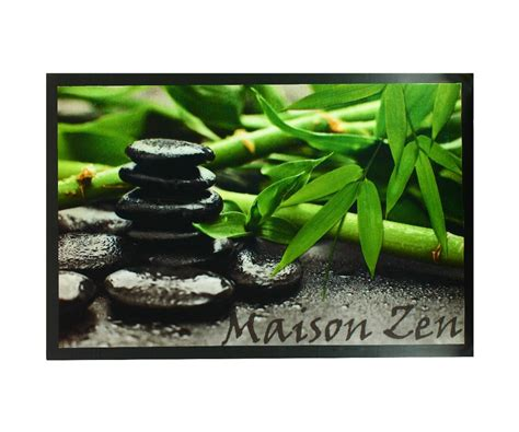 derouleur papier cuisine paillasson tapis entrée pièce deco galets noir bambou
