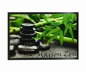 Paillasson Tapis Entrée Pièce Deco Zen Galets Noir Bambou 40X60cm 4184
