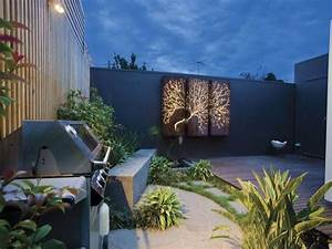 Outdoor living design with bbq area from a real australian for Garden feature wall ideas