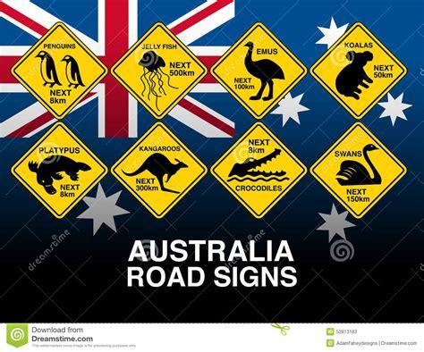 australian yellow road warning signs  flag stock