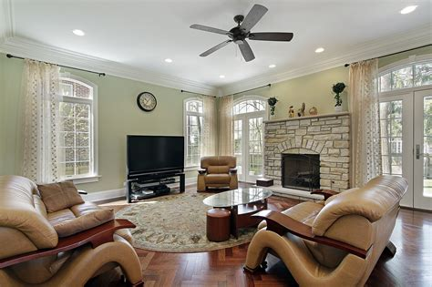 family living room with stacked fireplace flatscreen