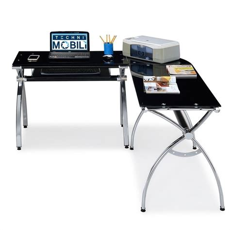 Techni Mobili Desk Black by Techni Mobili L Shaped Glass Desk With Chrome Frame In