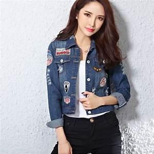 Harajuku Women Patches Blue Jeans Jacket Appliques Denim Jackets Women fashionu2026   90s ...