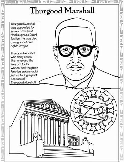 Coloring History Month Pages Marshall Famous Thurgood