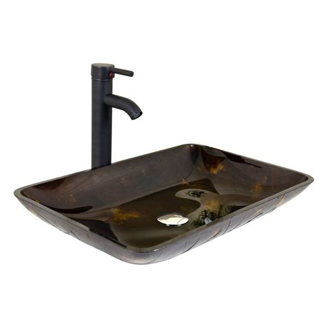 vessel sink faucets amazon elecwish rectangle artistic tempered glass vessel sink