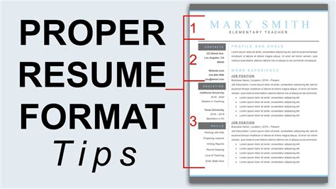 The Correct Format Of A Resume by Proper Resume Format Resume Formatting Tips