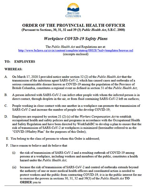 provincial health officers order  workplace