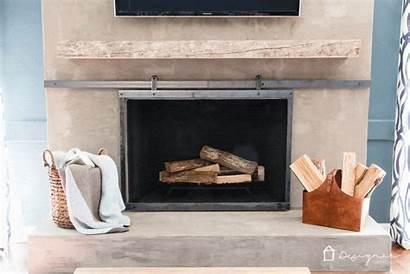 Fireplace Screen Barn Door Diy Sliding Concrete