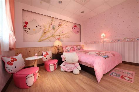 hello rooms for fashionable girls bedroom interior design with hello kitty furniture set and wallpaper also pink