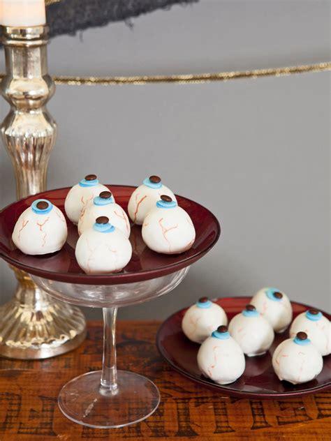 halloween party food cake ball eyeballs recipe hgtv