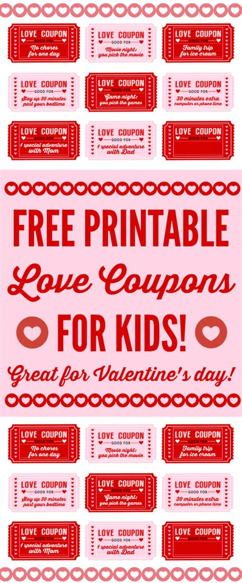 printable love coupons  kids  valentines day