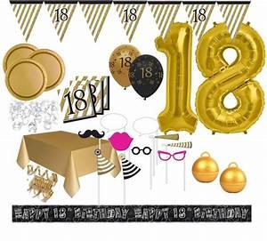 Deko 18 Geburtstag Junge : xxl mega 106 teile set zum 18 geburtstag party deko in schwarz gold f r 32 personen ~ Frokenaadalensverden.com Haus und Dekorationen