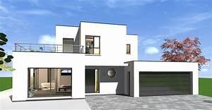 Maison Moderne Toit Plat : plan maison cubique toit plat moderne terrasse ~ Nature-et-papiers.com Idées de Décoration