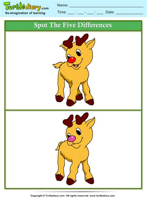 spot  difference rudolph worksheet turtle diary