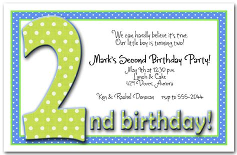 Green & Blue Polka Dots Boy's 2nd Birthday Party Invitations