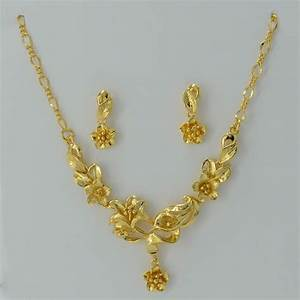 Gold Flower set Jewelry Necklace Pendant Earrings Plant ...