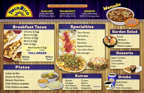 taco menu taco rico restaurant menu mexican food taqueria mcallen mission