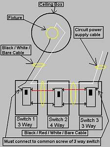 wire multiple lights controlled by 4 way switch With 3 way switch code