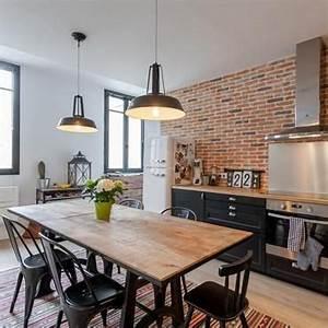 Cuisine Deco Industrielle : cuisine style industriel deco maison en 2019 cuisine style industriel cuisine brique et ~ Carolinahurricanesstore.com Idées de Décoration