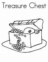 Treasure Chest Coloring Drawing sketch template