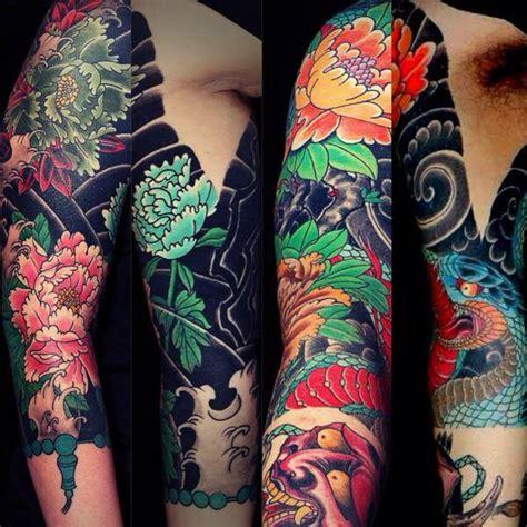 Tatouage Bras Japonais Fleur Et Dragon