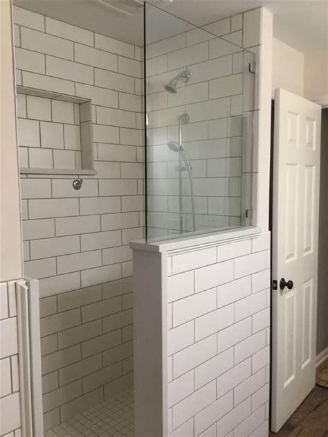 classic white  subway tiled shower extra large cutout