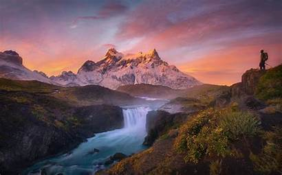 Sunrise Mountain River Landscape Waterfall Nature Torres