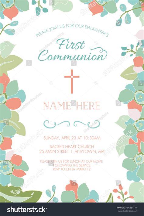 First Communion Baptism Christening Invitation Card Stock
