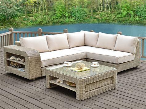 canape jardin canapé d 39 angle de jardin kuopio résine tressée beige crème