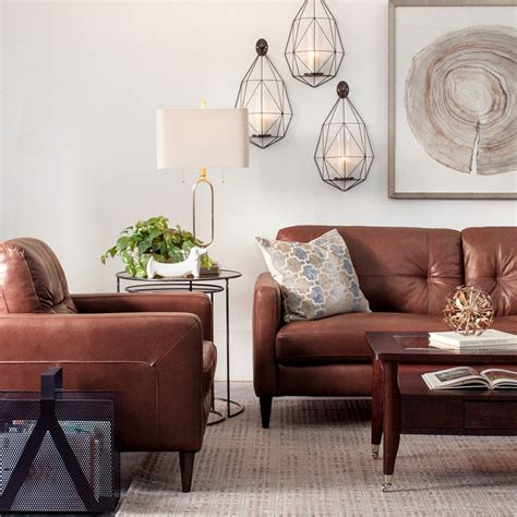 Leather Living Room Design by Decorating With Brown Leather Furniture Tips For A