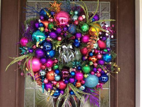 multi color christmas ornaments wreath