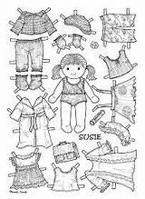 Coloring Paper Doll Pages Dolls Books Colouring Template Clothing Susie Karen Colour Craft Toys Crafts Printable Til Paklaedningsdukke Fra Lagret sketch template
