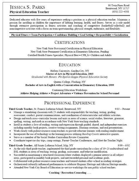 Elementary Resume Exles 2015 by Physical Education Resume Exles Free Sle