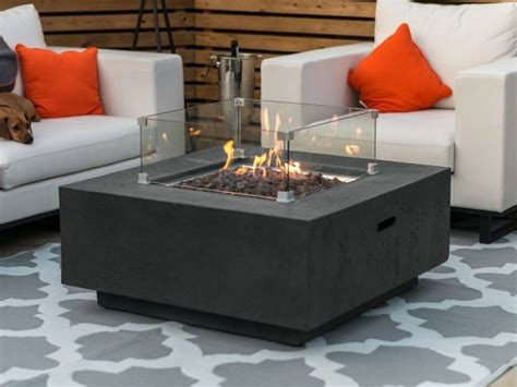 Ignite a warm, inviting flame over the sparkling glass rocks and watch it burn all night, as an enjoy more table space: Nova Cairns Gas Fire Pit with Wind Guard | Outdoor Fire ...