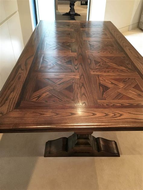 buy  parquetry dining table  pedestal base
