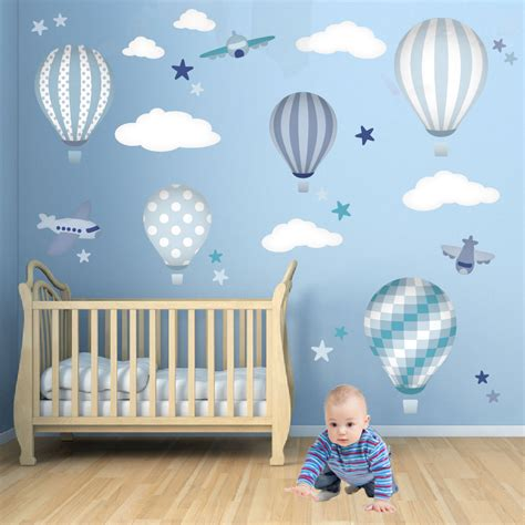 baby boys wall stickers hot air balloon wall decals feat