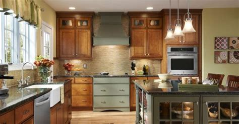 KraftMaid Gresham Maple in Cinnamon and Sage   Kitchen