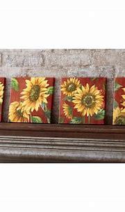 Set of 4 Sunflower Canvas Prints, | Sunflower canvas ...