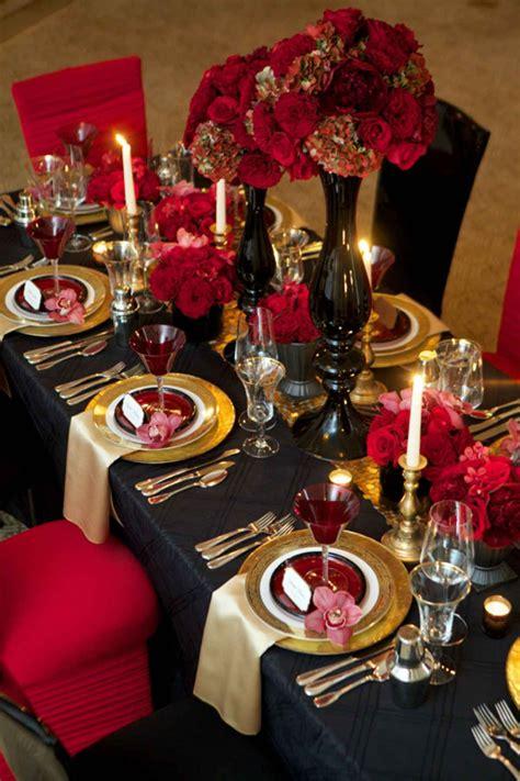 Romantic glamorous red black & gold wedding Black