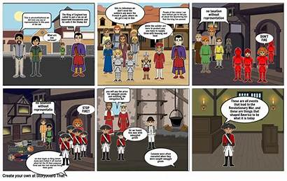 Comic Strip War Revolutionary Storyboard Slide