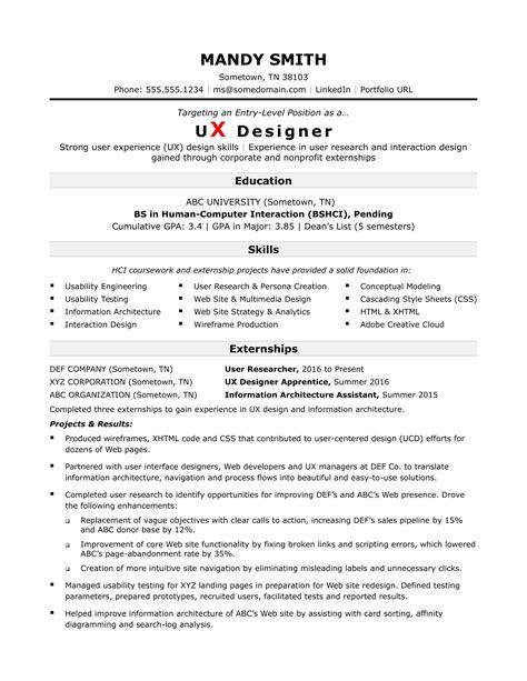 sample resume   entry level ux designer monstercom
