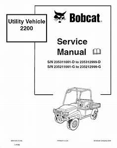 Bobcat 2200 Utility Vehicle Service Manual Pdf