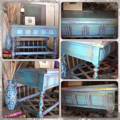 furniture  mk designs distressed turquoise side table