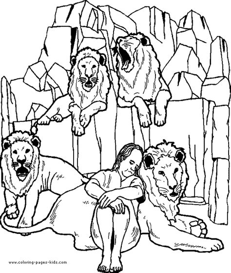 daniel in the s den color page free printable 340 | bible story coloring page 01