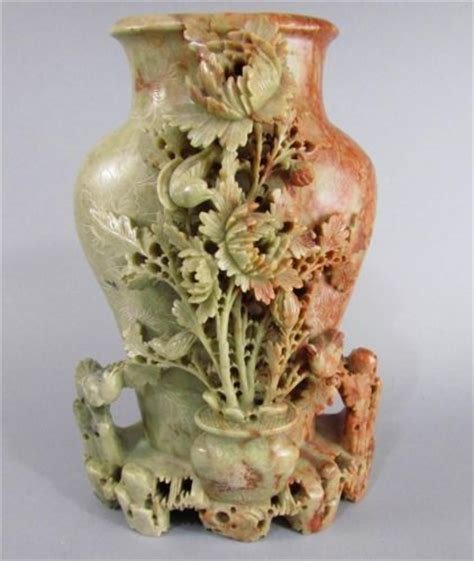 Antique Chinese Soapstone Carving, Large Vase With Floral